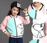 New children's cartoon of the girls fall coat color matching student han edition coat