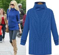 New winter Long twist grain thickening sweater Female turtleneck sweater