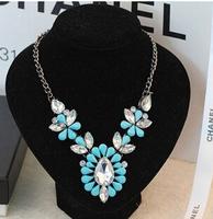 Candy Acrylic Gem Shourouk Flower Collar Choker Bib Statement Necklaces & Pendants New 2014 Fashion Jewelry Women Wholesale N100