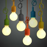 Muuto E27/E26 socket Chandelier lamp 1pcs light fixture Hanging color line Silicone holder pendant ~ NO bulb~