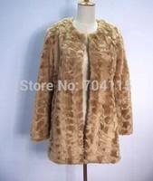 Brown color rex rabbit fur medium-long coat