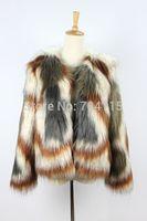 Color block decoration wool fox fur coat
