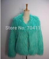 Long fur short design faux fur coat