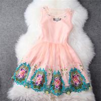 женщины платье летняя роскошь дамы бисероплетение пэчворк лук цвет блока платье без рукавов женщина, платье моды бренда