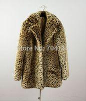 Leopard print turn-down collar medium-long outerwear