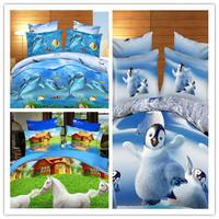 NEW!!Ocean bedding duvet cover Set/Blue blue girls 3d oil painting bedding sets/3d bed sheet/horse bedding/Quiltcover 200*230cm