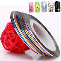 1Set 10 Colors 50 PCS Rolls DIY Decoration Striping Tape Line Sticker Nail Art UV Gel Tips