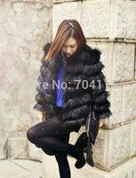 Artificial faux fox fur stripe medium-long fur coat