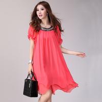 Mm summer plus size clothing loose chiffon one-piece dress female short-sleeve plus size plus size casual basic one-piece dress