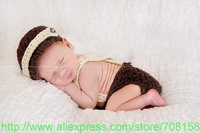 free shipping,baby brown Newsboy caps,Newborn Hat,Bow tie with Diaper Cover Crochet baby sets Photo Prop Costume 100% cotton
