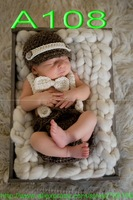 free shipping,baby brown Newsboy caps,newborn Hat ,Bow tie with Diaper Cover Crochet baby Set Photo Prop 100% cotton NB-3MONTH