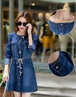 vestido jeans 2014 5XL 4XL Autumn Winter Women Plus Size long Sleeve office Casual Denim Dress vestido de festa vestido longo