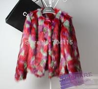 Fashion 2014  faux fox fur coat short design