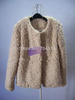 Women's fashion roll berber fleece beige short design autumn and winter outerwear