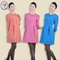 2014 Autumn half sleeve beauty salon spa uniform dress manicurist uniform work wear dress