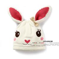 new 2014 autumn winter baby hats kids accessories cap girls Lovely rabbit knitted hats children warm beanies