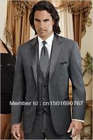Free shipping / custom cheap charcoal gray evening dress wedding groom best notch lapel groom groomsmen wedding suits for men