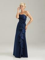New Arrival A-line Sweetheart Ruffles vestidos de madrinha Floor Length Navy Blue Bridesmaid Dresses