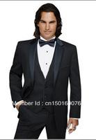 Free shipping / black dress notched lapel groom groomsmen / groom wear men's wedding dress suit / imen suit / Custom suits.tuxed