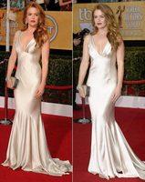 Celebrity Dresses V-Neck Straps Sleeveless Silver/Gold Elegant Satin Mermaid Evening Dress