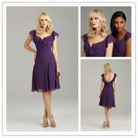 Fashion V Neck Ruffles Short Evening Dress Bodice Knee Length Purple Short Ball gowns