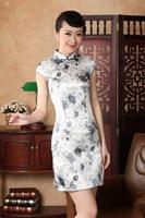 chinese Short sleeve silk printing dress qipao Cheongsam 140431 size 30-38