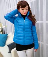 2014 New Fashion PU Leather Winter Down Parkas Coat Women Candy Warm Jacket