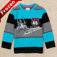 Free Shipping Nova Kids Frozen Clothes 100% Cotton Long Sleeve Boy Striped T shirt Frozen Shirt Costume Brand Boys Clothes