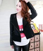 2014 New Autumn Winter Women's Jacket PU Leather Woolen Short Slim Coat Women Clothing