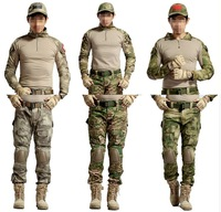 Men's outdoor Military Tactical Airsoft Paintball Combat Uniform T shirt + Pants W/ Knee Elbow Pads