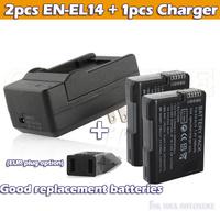 2pcs 1500mAh Decoded ENEL14 EN EL14 EN-EL14 Battery +charger For Coolpix D3100 D3200 D3300 D5100 D5200 D5300 P7000 P7100 P7800