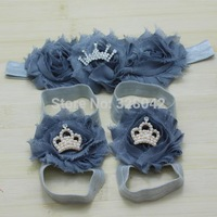 2014 New Baby Girls grey shabby Flower Shoes+tiara Crown Headband Infant First Walkers Shoes Princess hair accessories+Footwear