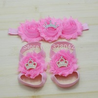 MOQ 1set Pink baby shabby Flower headband+ tiara Crown sandals Barefoot Blooms Sandals kid Infant hair accessories+Footwear