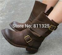 2015 Genuine Leather Plus Size Black Brown Punk Women Rivet Combat Boots Vintage Retro Autumn Motorcycle Ankle Riding Boots