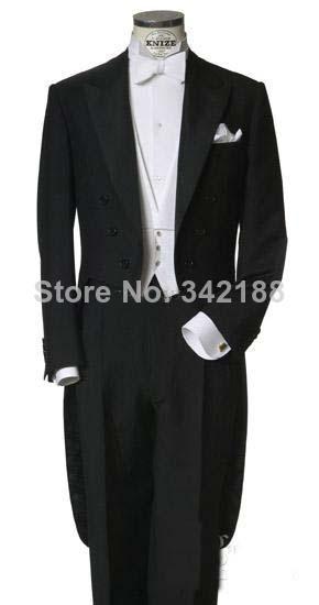 Custom men's custom dress custom measurements / classic black tuxedo man left pocket / wedding gown / wedding suit man(China (Mainland))