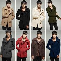 2014 hot sale colored double-breasted wool coat Korean Slim Men in Mens Jacket