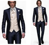 Free EMS! Slim -made single-button navy blue dress and groom / groomsmen Peak lapel suit / groomsmen suits men marry SuitsCHEAP