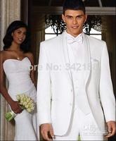 Free EMS! White shawl lapel tuxedo groom groomsman groomsmen suits men wedding groom suits ( jacket + pants + vest + tie )