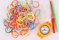 Hot Sale 50pcs/Lot!2014Hot Fashion DIY Kids Kit Rubber bands Bracelet Watch Set Kids Toys Creative Loom Bands Watch wholesale