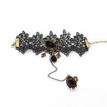 Vintage Personalized Halloween Wrist Black Lace Bracelet Set Z4T6
