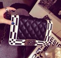 HOT!!!2014 women's black handbag vintage fashion chains shoulder small bag PU Leather bags women messenger bag bolsas femininas