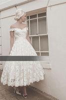 2014 New Short White Or Ivory Lace Wedding dress Bridal gown Custom size