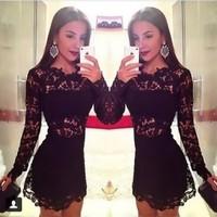 Vestidos New fashion Black lace mini women dress free shipping