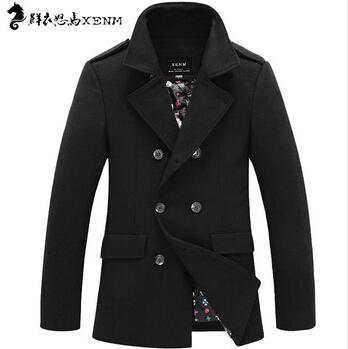 High quality 2014 new brannd fashion winter spring wool coat men slim wool blending mens pea coat 100% wooll(China (Mainland))