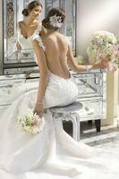 Mermaid Wedding Dresses Lace Backless Bridal Gowns Custom Size 4 6 8 10 12 14 16