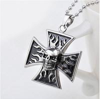 Fashion Vintage Cross Titanium Steel Necklace Chain Men Stainless Steel Necklace Skull Pendant  94871
