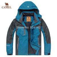 New 2015 Camel Spring  Autumn Camping Hiking Men Jacket Outdoor jacket Sportswear Hooded Plus Velvet Waterproof Outerwear
