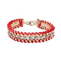 2014 Hot Sale Fancy Brand Bracelets Women Jewelry 18K Real Gold Plated hand-woven Chain Gem Rhinestone Bracelet&Bangle