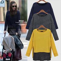 Wholesale fashion xl 2xl 3xl 4xl 5xl plus size women clothings casual cotton 2014 autumn winter long sleeve t-shirts blouse blue