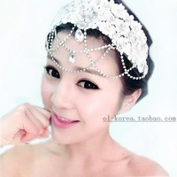 Bridal hair accessories lace flower head flower bridal headdress Korean sweet diamond wedding hair short amount of jewelry